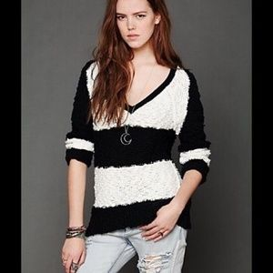 Free People Black and White V-Neck Sweater